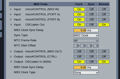 MIDI I/O in Ableton Live