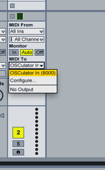 The track MIDI output is set to OSCulator In (8000)